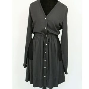GAP Charcoal grey button dress with black pockets